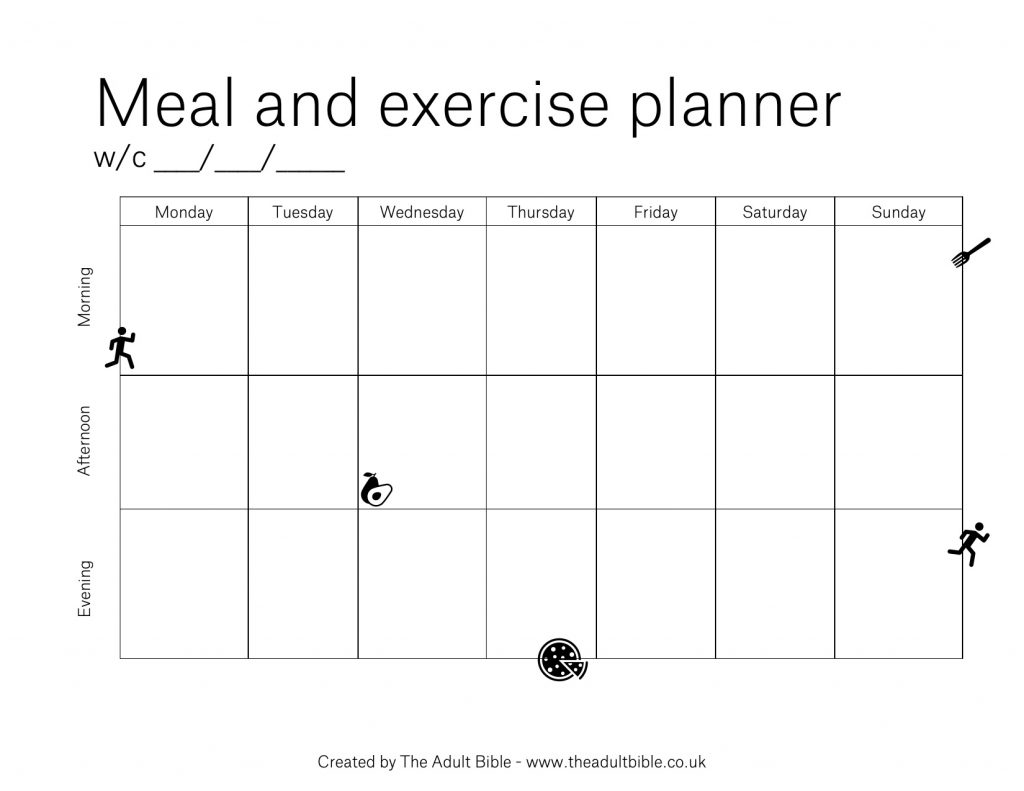 Meal and exercise planner